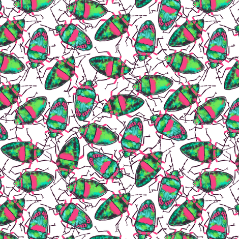 Emerald-Pink Bugs bunch fabric by helenpdesigns on Spoonflower - custom fabric