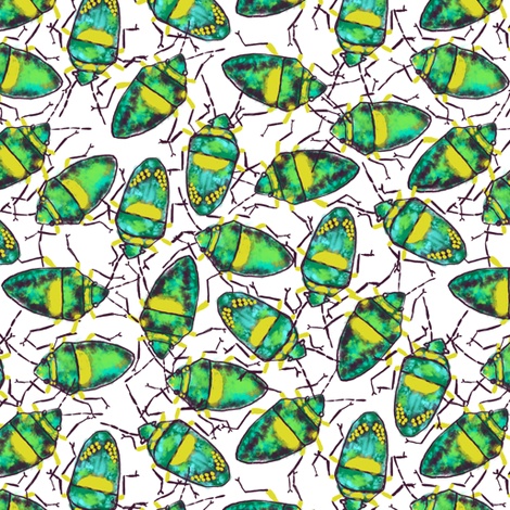 Emerald-Yellow Bugs bunch fabric by helenpdesigns on Spoonflower - custom fabric