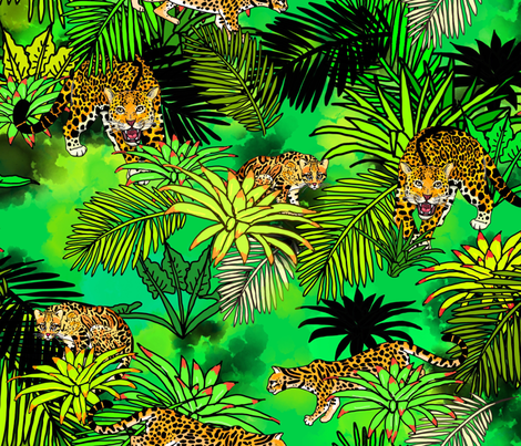 exotic cats of the emerald rainforest fabric by beesocks on Spoonflower - custom fabric