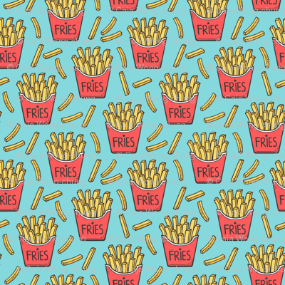 French Fries Fast Food Red on Blue Smaller Tiny 1,5 inch