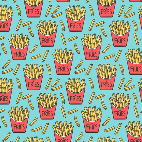 French Fries Fast Food Red on Blue Smaller Tiny 1,5 inch fabric by caja_design on Spoonflower - custom fabric