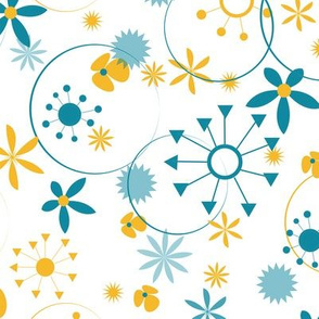 Flowers, Stars and Circles - Gold and Blue