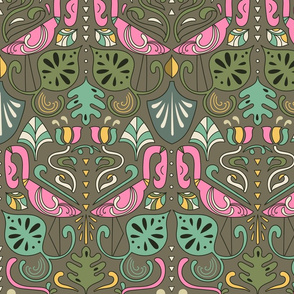 artdeco flamingos and tropical leaves design pattern 3