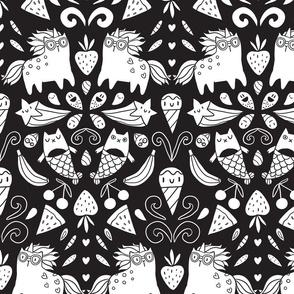 unicorns, mermaids, cats and icecream doodles fabirc pattern design.