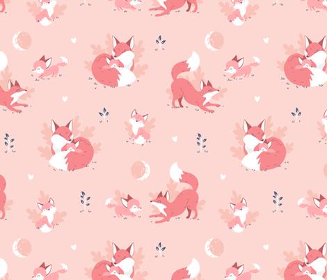 Fox Mama - peach fabric by ewa_brzozowska on Spoonflower - custom fabric