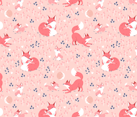 Fox Mama - peach leaves fabric by ewa_brzozowska on Spoonflower - custom fabric
