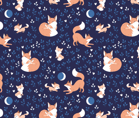 Fox Mama - navy night leaves fabric by ewa_brzozowska on Spoonflower - custom fabric