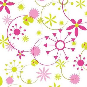 Flowers, Stars, Circles - Pink and Green