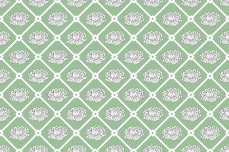 Chrysanthemum on Pistachio Meadow Pattern fabric by runcatrun on Spoonflower - custom fabric