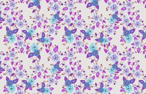 OrientRoses_Chinoserie_Blue_Magenta_Cream fabric by thistleandfox on Spoonflower - custom fabric