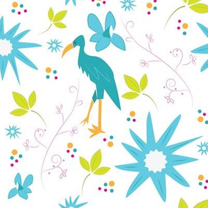 Crane in Flowers and Leaves