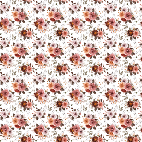 Vintage Roses Edition 1 || Smaller || Floral Burgundy Apricot Pink White fabric by kookinutsfabricco on Spoonflower - custom fabric