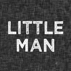 """6"""" quilt block - little man on black linen"""