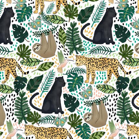 Emerald Rain Forest Animals fabric by tangerine-tane on Spoonflower - custom fabric