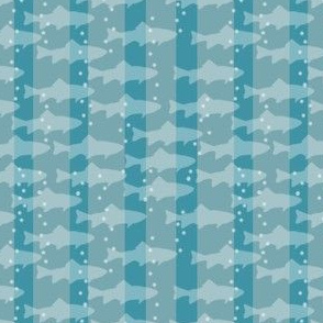 Fish & Bubbles with Stripes in Blues