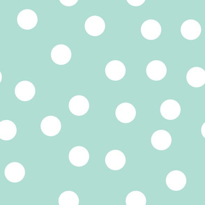 "1.5"" polka dot scatter - white on aqua"