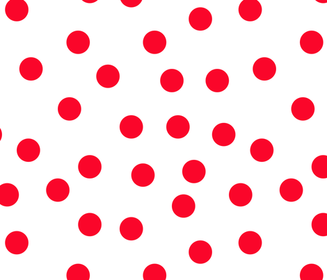 """1.5"""" polka dot scatter - red on white fabric by littlearrowdesign on Spoonflower - custom fabric"""