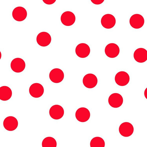 "1.5"" polka dot scatter - red on white"