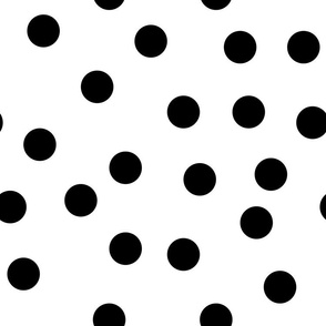 "1.5"" polka dot scatter - black on white"