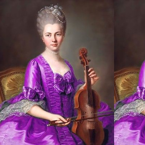 Marie Antoinette inspired princesses purple gowns lace baroque victorian beautiful lady woman beauty pouf Bouffant bows violins violinists musicians portraits ballgowns flowers floral rococo  elegant gothic lolita egl 18th  century neoclassical  historica