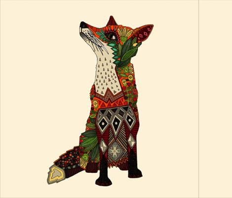 fox love cream 18 inch pillow panel fabric by scrummy on Spoonflower - custom fabric