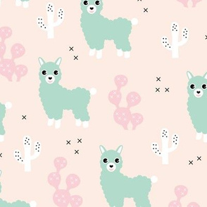Soft pastel llama alpaca love cactus summer design mint pink