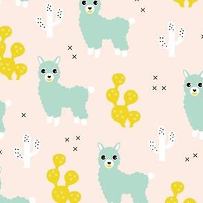 Soft pastel llama alpaca love cactus summer design mint yellow