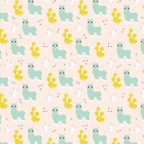 Soft pastel llama alpaca love cactus summer design mint yellow SMALL