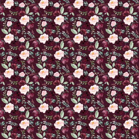 "2"" Wild at Heart Florals _ Dark Crimson fabric by shopcabin on Spoonflower - custom fabric"