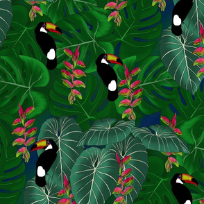 TOUCANS ON EMERALD