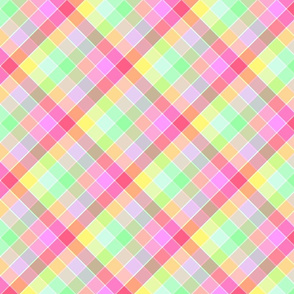 Pastel Rainbow Tablecloth Diagonal Check