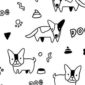 Sketchy cute corgi dog and French bulldog pattern design.