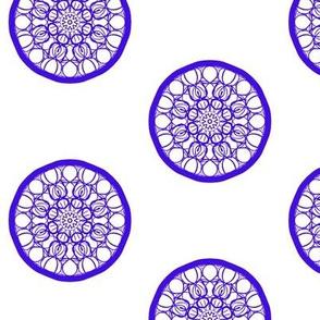 Seedpod Circles of Blue on White