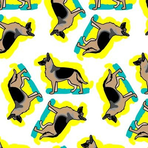 50s Style German Shepherd Dogs on Blue and Yellow