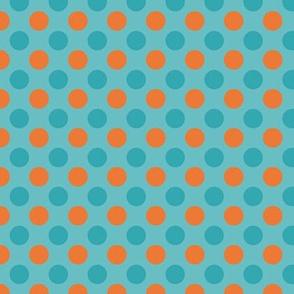 Orange & Aqua Polka Dot