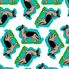 50s Style German Shepherd Dogs on Blue and Green