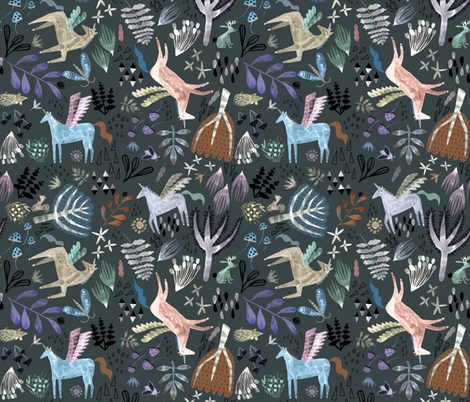 Pegacorn - dark background fabric by katievernon on Spoonflower - custom fabric