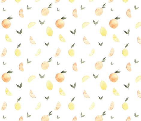 Citrus & Leaves fabric by coledawndesigns on Spoonflower - custom fabric
