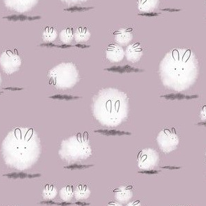 Teeny Dust Bunnies in Lilac