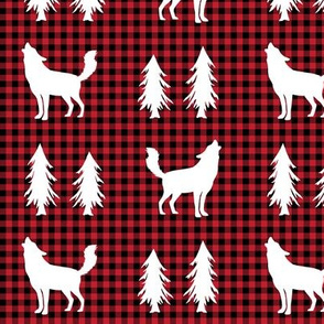 Wolves  – Woodland Trees, Black / Red Plaid