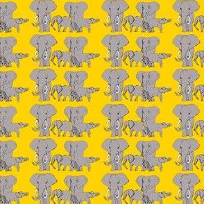 Grey Elephants on Yellow  Background
