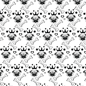 Pug Pattern b/w