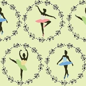 Pretty Ballerinas on Green