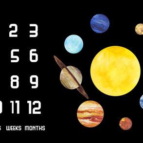 Solar System Baby Growth Blanket