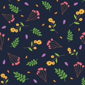 spring floral pattern with blue background 01