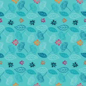 Floral light blue background