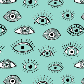 Eyes - mint and white