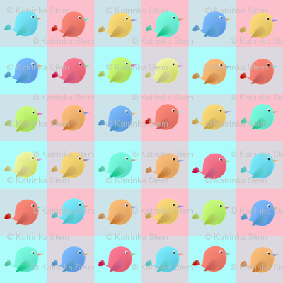 Fairy birds in the squares