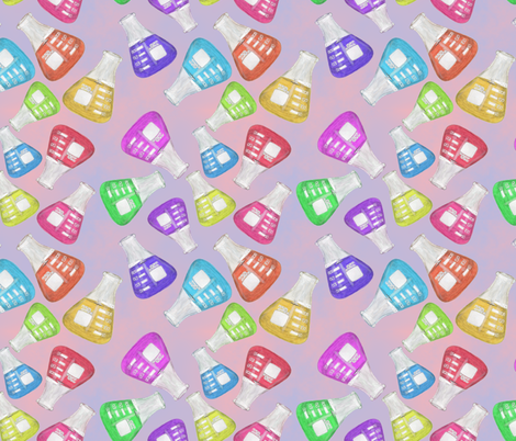 Lab Flange Multicolor on Blue and Pink BG fabric by iadesigns on Spoonflower - custom fabric