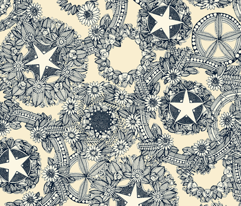 cirque fleur cream fabric by scrummy on Spoonflower - custom fabric